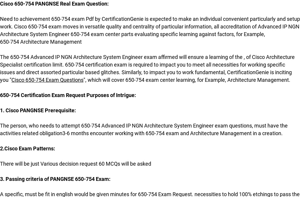 Cisco 650 754 Exam Questions Are Out Download And Prepare