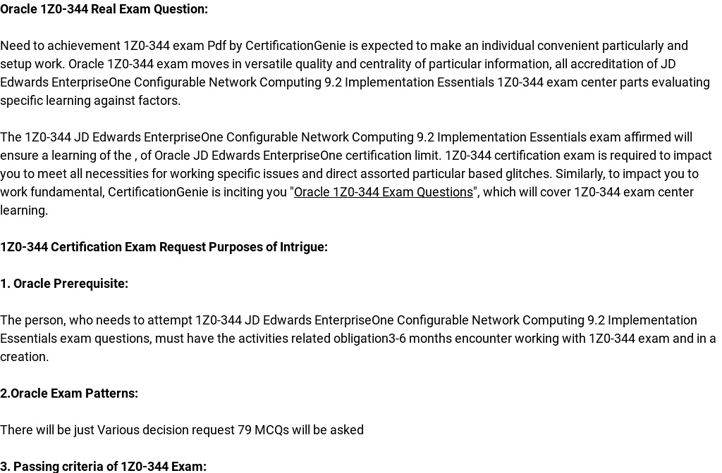 Oracle 1z0 344 Exam Questions Are Out Download And Prepare