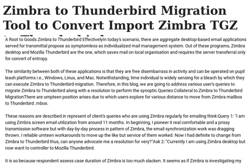 Zimbra to Thunderbird Migration Tool to Convert Import Zimbra TGZ to