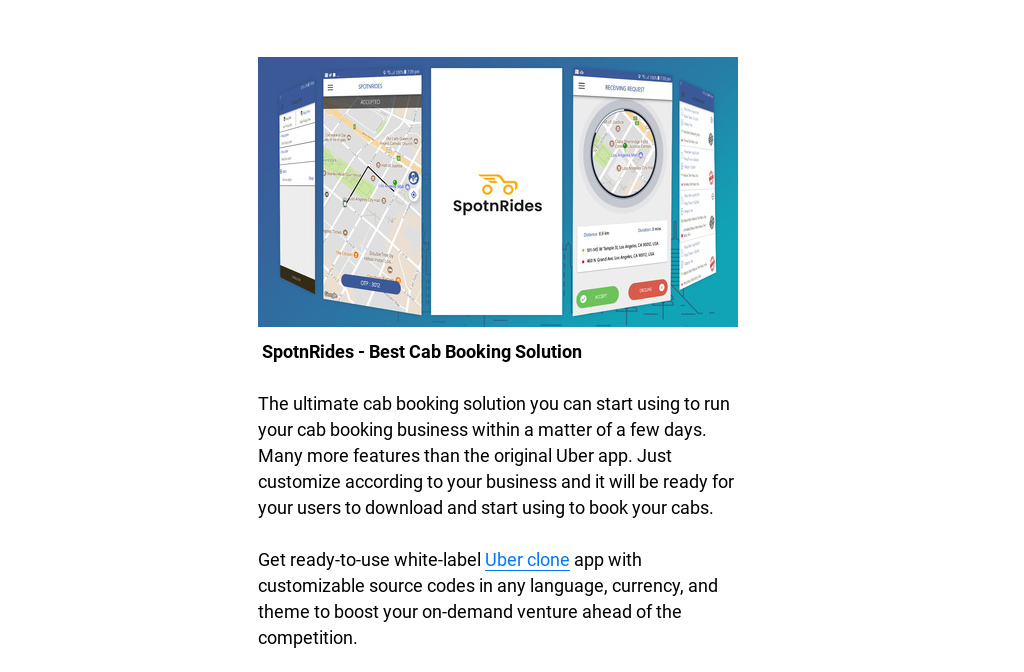 SpotnRides - Top Selling Uber Clone Product