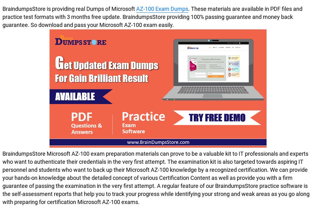 100% Valid Microsoft AZ-100 Dumps - Pass With Guarantee