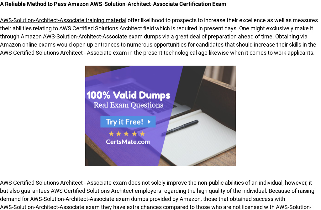 Get Aws Solution Architect Associate Dumps And Pass Your Aws