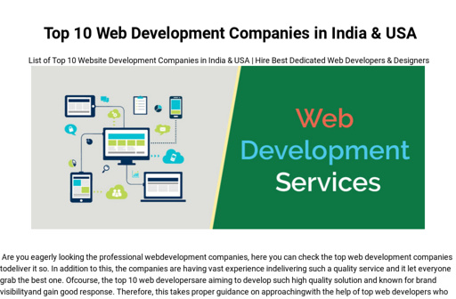 Top 10 Web Development Companies in India & USA