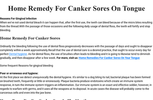 Home Remedy For Canker Sores On Tongue