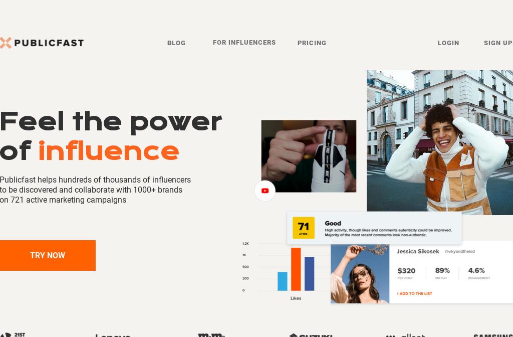 Publicfast - influencer marketing platform